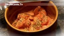 Krewetki w jogurcie pomidorowym z koperkiem