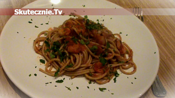 Spaghetti marinara z krewetkami