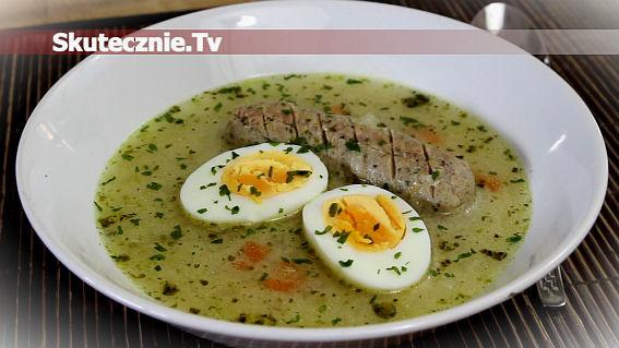 Zupa chrzanowa z białą kiełbasą i jajkiem