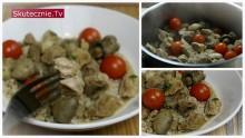 Duszona łopatka z pieczarkami i małymi pomidorkami