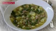 Zupa ziemniaczana z ryżem, mięsem i fasolką