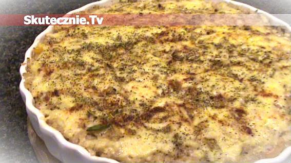 Zapiekanka ryżowa z kaszą, królikiem, cebulką i papryką