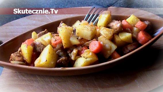 Pikantny schab pieczony z warzywami