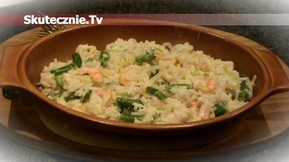Ryż z krewetkami i zieloną fasolką w śmietanie
