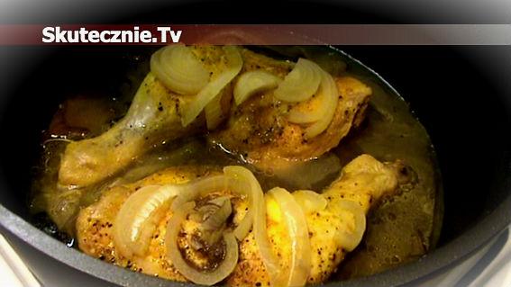 Udka drobiowe duszone w cebuli i grzybach