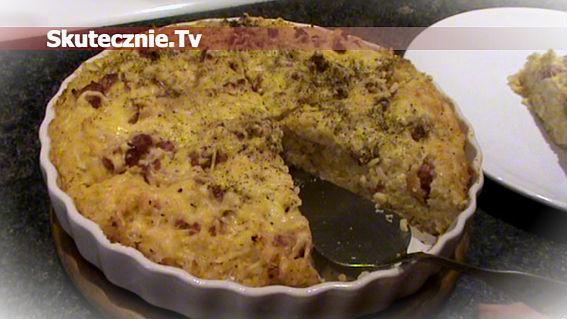 Zapiekanka kalafiorowa z ryżem i pieczoną kiełbasą