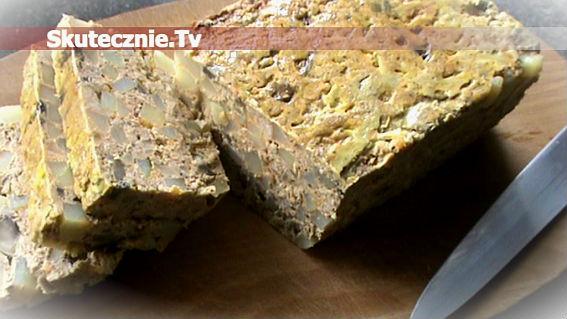 Pieczeń 'salceson' -z ziemniakami, cebulką i pieczarkami