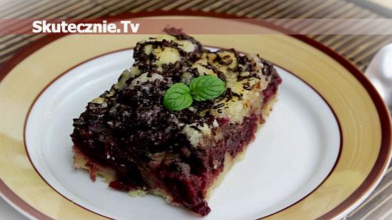 Ciasto sypane -z czereśniami i czekoladą