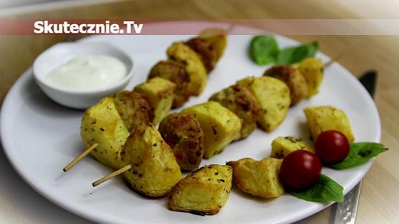 Szaszłyki -indyk z pesto i pieczony ziemniak