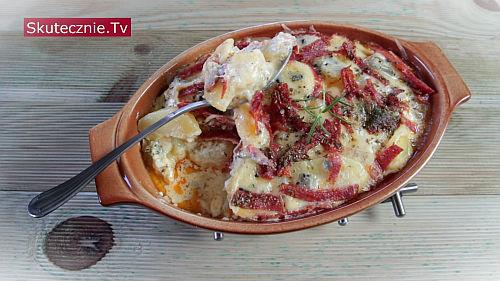 Zapiekane ziemniaki 'trzy sery i salami'