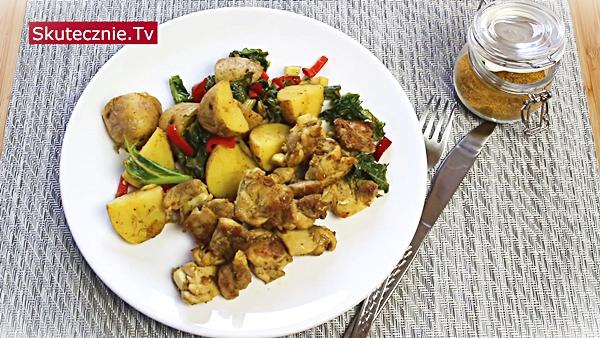 Kurczak z warzywami z patelni w przyprawie hinduskiej