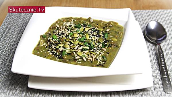 Zupa porowo-pieczarkowa z zieloną soczewicą