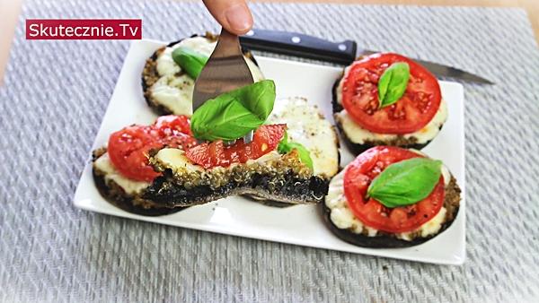 Faszerowane pieczarki z komosą, pastami i mozzarellą (pyszne!)