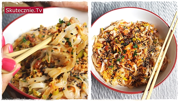 Makaron ryżowy z tuńczykiem i porem