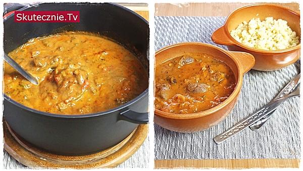 Gulasz z serc drobiowych w pomidorach, dyni i mleku kokosowym