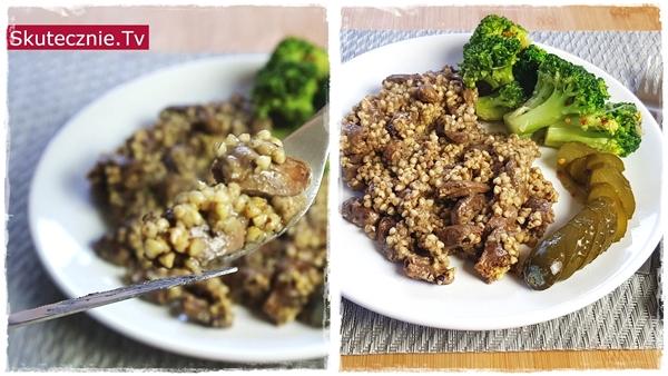 Serca z kaszą gryczaną, brokułem i kiszonym ogórkiem