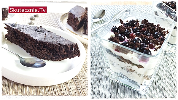 Czekoladowe ciasto z ciecierzycy: KROJONE i TORCIK w szklance