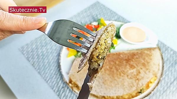 Zapiekana tortilla z farszem (mięso-twaróg-jajka)